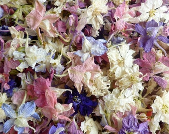 Dried Larkspur, Flower Confetti, Craft Supplies, Pink Rose Petals, Wedding Flowers, Real Dried Flowers, Table Decor, Flower Girl, 1 US cup