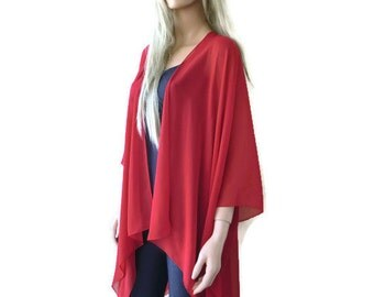 Solid Red  Boho Kimono/ Kimono cardigan-Dark Red Lagenlook chiffon kimono-Darker red chiffon jacket-Ruana style