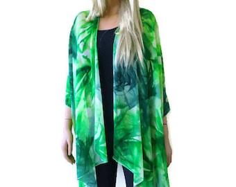 Green batik Kimono cardigan jacket- Citrus greens -Lagenlook style-Chiffon spring/summer Ruana cardigan