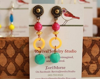 50% off Bright Spring Earrings - Pink, Orange, and Turquoise