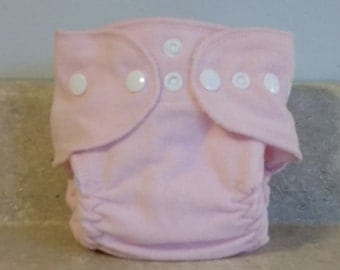 Fitted Preemie Newborn Cloth Diaper- 4 to 9 pounds- Baby Pink- 16002