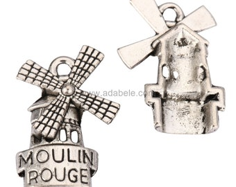 20 x Mill House Charms Beads 20x15mm Antique Silver Tone #mcz979