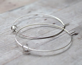 Hoop Earrings, Large Silver Hoops with Swarovski Crystals Earrings