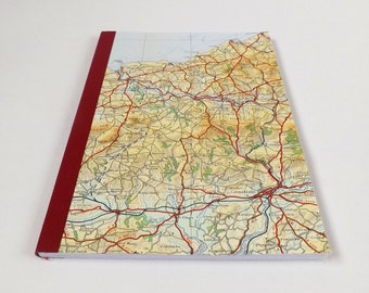 South Wales #1 - Cardigan - Recycled Vintage Map Notebook