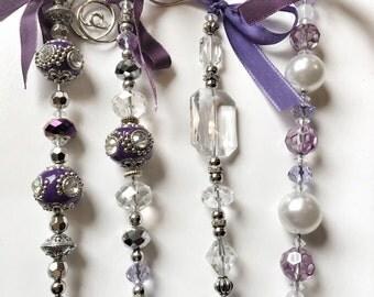Purple bead ornaments, set of 4