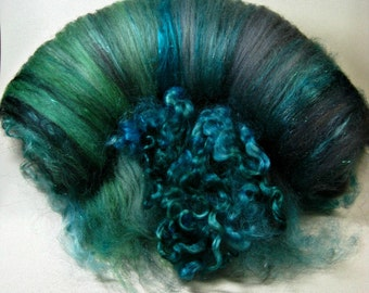 RESERVED Lagoon Wild Card Bling Batt for spinning and felting (4.1 ounces), batt, art batt