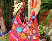 Red and multi colored hand  Embroidered Huipil Boho Travel tote