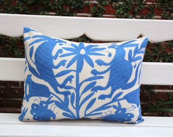 Periwinkle blue Folk Art Pillow Sham-Otomi Embroidery Ready to ship.