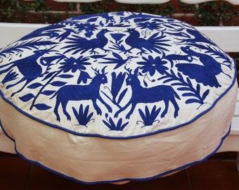 Round Cobalt Blue  Pouf  Ready to ship original Floor Cushion