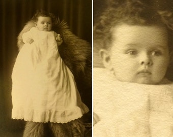 Mother Was a Teddy Bear. Antique Baby Photograph. Christening Gown. Hidden Mother Cabinet Card. Circa 1880s.