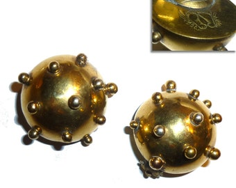 "Large Hubert Harmon Spiked Brass ""Sputnik"" Naval Mine Earrings. One Inch Diameter. Signed. Vintage 1940s Taxco Mexico. AS IS."
