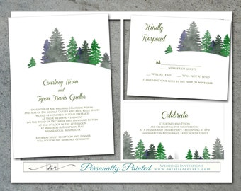 Snow Invitation template / Snowbank Evergreen Tree Watercolor / DIY / Christmas party NRDIY-191415