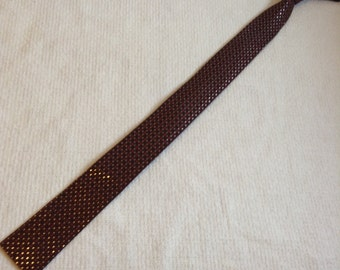 1960 Penny's Skinny Tie. Square edge, Straight edge Necktie.  Copper, brown & Silver. Mod, Eames, Mad Men, Beatles, Rockabilly, Hipster.