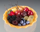 Berry Collection Glass Sculpture including glass pie crust.  Realistic life sized glass berries. Collectible glass art fruit sculpture.