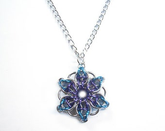 Chainmaille star pendant, Turquoise and purple, Star necklace, Celtic Visions star weave
