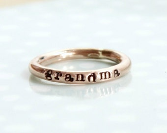 Rose gold stacking name rings, rose gold filled ring, stacking rings with names, mother mom ring, personalized custom rings, ring with words