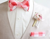"""Bow Tie, Mens Bow Tie, Bowtie, Bowties, Bow Ties, Bowties, Coral Bow Tie, Groomsmen Bow Ties, Wedding Bow Ties - 1"""" Coral Gingham Check"""