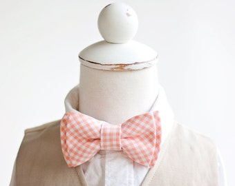 Bow Tie, Boys Bow Tie, Bow Ties, Baby Bow Ties, Bowtie, Bowties, Ring Bearer, Bow ties For Boys, Ties, Peach Bow Tie - Peach Gingham
