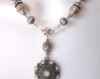 SALE Assemblage Rhinestone Necklace Pearl Bridal Jewelry Repurposed Vintage Jewelry