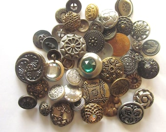 Vintage Metal Buttons Mixed Lot Sewing Craft Supply Button Destash