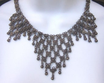 Vintage Metal Bib Necklace Bollywood Style Chainmaille Gypsy Tribal Jewelry Belly Dancer Necklace