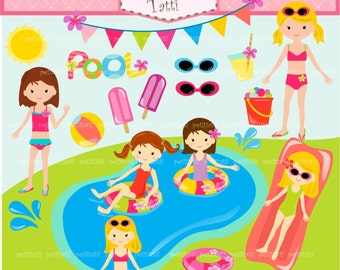 ON SALE pool party clipart - girls clipart, girls pool party clipart, summer clipart