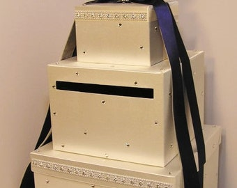 Wedding Card Box Ivory and Navy Gift Card Box Money Box Holder--Customize your color