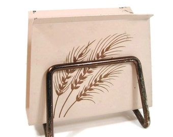 Pink Napkin Holder with Wheat Design Metal Napkin Holder