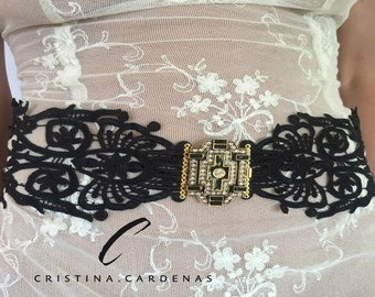 wedding black  sash