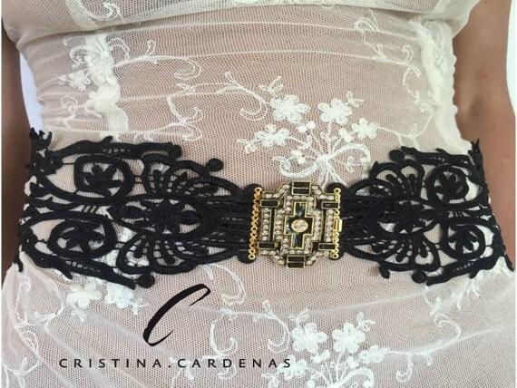 wedding black  sash