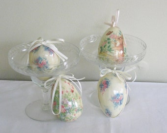 Vintage Collection of Four Decorative Easter Eggs, Paper Mache Decoupaged Floral Eggs, Easter Bunny with Hanging Ribbon Ornaments