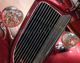 Chrome Grill and Headlights 8x10 Fine Art Vintage Car Photograph
