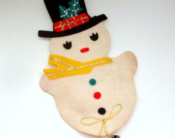 Vintage Felt Snowman Christmas Decoration, Gold and Silver Glitter, Jingle Bell, Door Knob Cover, Retro Holiday Decor, Mid Century  (179-16)