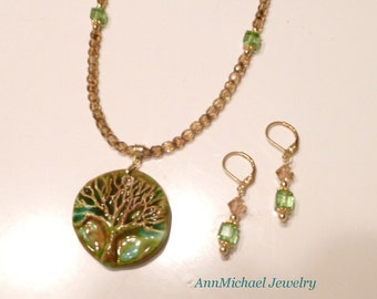 Tree of Life pendant, Swarovski Peridot Crystal necklace and earring set, Spring, Summer, and Fall jewelry