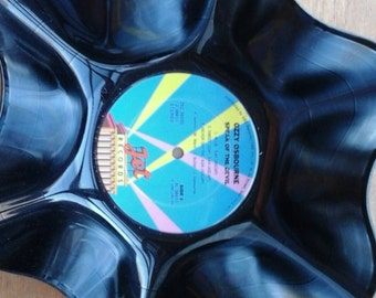 Ozzy Osbourn Genuine Vintage 33rpm Upcycled LP Record Bowl