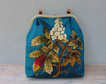 Teal Floral Bag, Boho Vintage Chenille Embroidery, Leather, Silk, Kiss-lock, Colorful Bag