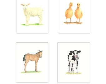 FARM NURSERY ART  Farm Animal Prints 4 Print Set  Nursery Prints  Old McDonald animal Nursery Art horse cow ducks lamb Toddler room art