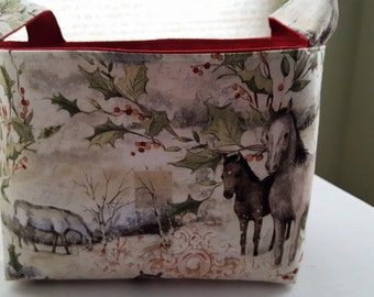 Fabric Organizer Basket Storage Container - Christmas Horses - Bin