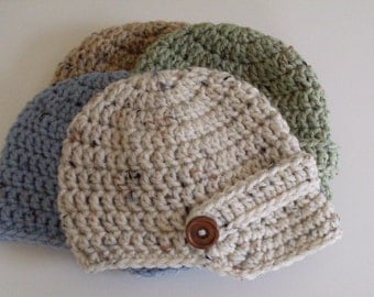 Newsboy Hat, Newborn Visor Cap, Baby Boy Hat with Brim, Toddler Hat