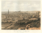 View of Edinburgh from the Castle, Scotland, Reproduction Antique Engraving 1840 Traditional Art, Library Decor, Drawing W. L. Leitch