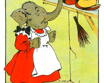 Bad Elephant Sue, Stealing Jam Antique Reprint Jumbo Picture Book Page, Harry Neilson, Anthropomorphic Art, Kids Nursery Wall Art, Cartoon