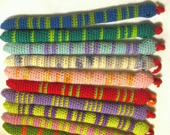 FREE SHIPPING 2 Certified Organic Catnip Cat Toy Snake, hand-crochet, high quality wool/bamboo yarn.