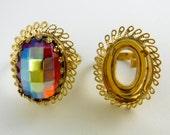 2 pcs Ornate Ring Blanks Size 7  Ring Vintage Gold Filagree Casting R-1