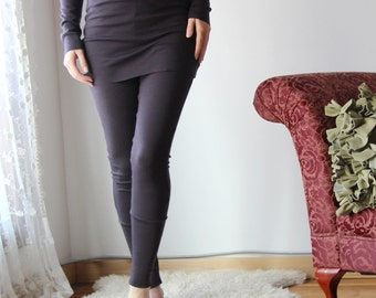 skirted wool leggings with cuff in double knit fine stretch jersey - HEARTH - made to order