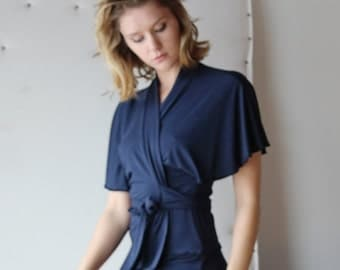 bamboo bed jacket or cardigan with wrap style belts and flutter sleeves - ICON bamboo sleepwear and lingerie range - made to order