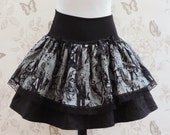 pin-up gothic Zombie skirt  black & grey stretch