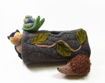 hollow log animal den, Waldorf toy, eco friendly toy, natural toy, waldorf animal home