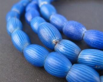 70 Antique Venetian Blue Onion Beads - Antique Trade Beads - Onion Trade Beads - Old Glass Beads - Venetian Beads (CHV-OVL-BLU-225)