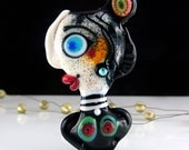 Cabaret - *Beautiful faces/ Freak heads*- Modern Glass Art - Unique, Statement focal Bead - by Michou P. Anderson