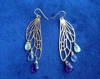 Brass Dragonfly gemstone drop earrings